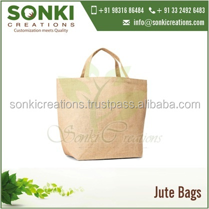 Large Jute Shopping / Tote Bag with Self Handles and Bottom Gusset Wholesale Exporter
