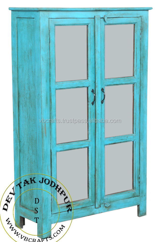 Antique Finish Blue color Cabinet with glass panel