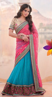 Pink & Sky Blue Color With Full Color Blouse & Purple Pipeping Beauty Designer Sarees