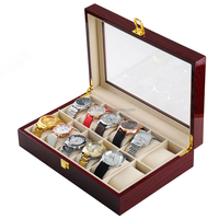 Wooden Watch Storage Case For 12 Slot Watches with Glass Screen Display Organizer Box