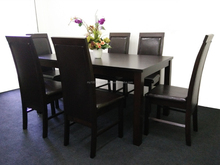 Wooden furniture, dining set, wooden table, wooden chair, cushion seat
