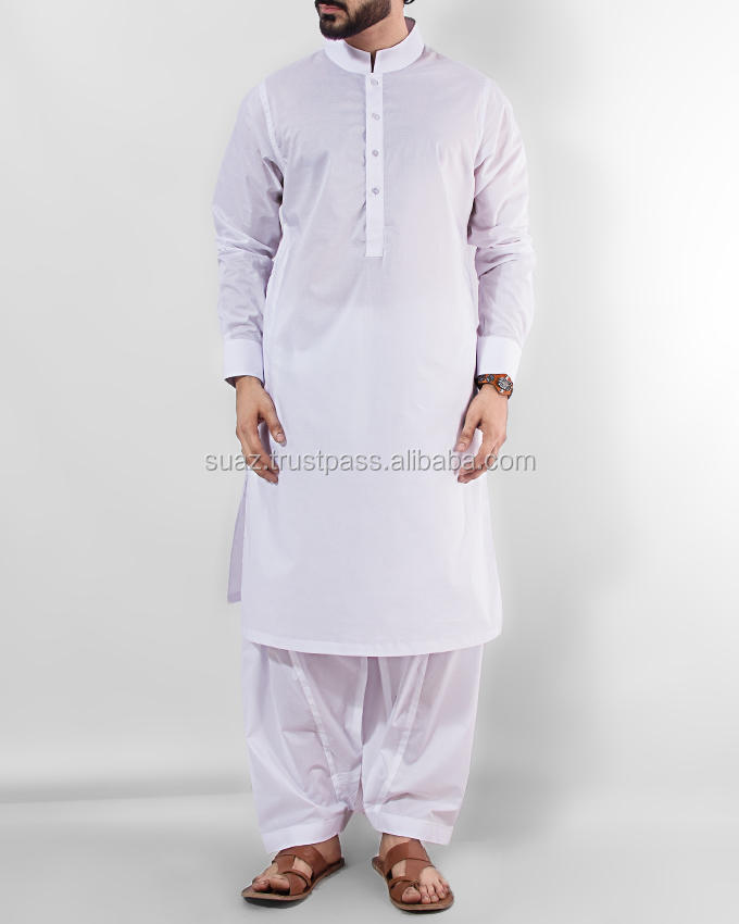 Men's Navy Blue Collar Cotton Stitched Kurta , Solid White Casual Kurta , Black Wash & Wear Shalwar Kameez For Men ,