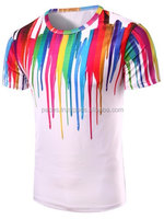 Round Neck 3D Colorful Vertical Splash-Ink Print Short Sleeve T-Shirt For Men