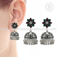 Beautiful Multi captivating Jhumka Earring 925 Sterling Silver Jewelry Supplier Silver 925 Jewelry Exporter