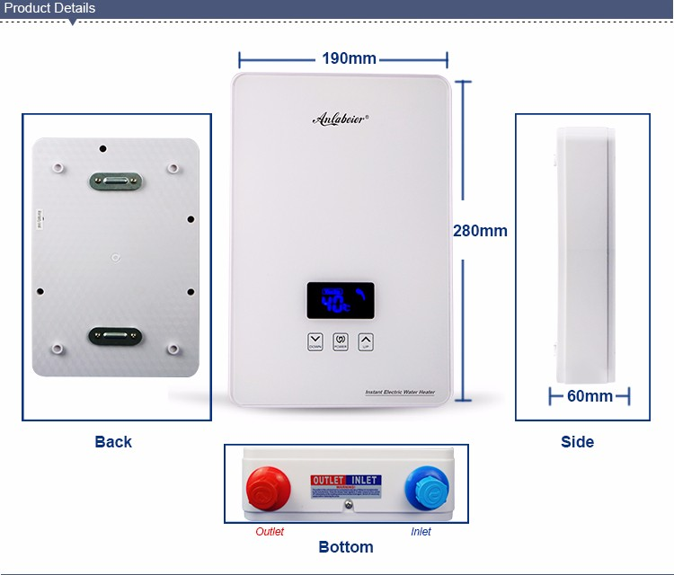 Anlabeier instant electric water heater Thermostatic effluent touch