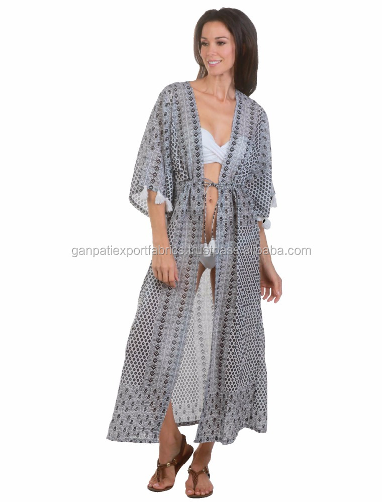 Sexy Women's Beachwear Long Cotton Swimsuit Beachwear Kaftan Cover Up Front Open Design