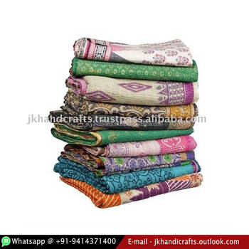 Authentic Indian Vintage Kantha Quilt Reversible 100% Cotton Ethnic Throw Sari Handmade Kantha Blanket