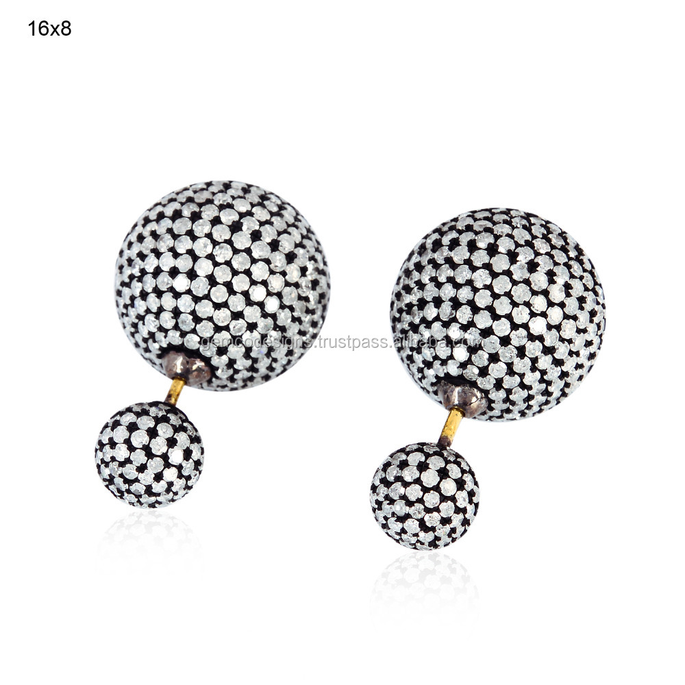 Pave Tunnel Earring Jewelry, 18k Gold Micro Pave Diamond Tunnel Earring, Sterling Silver Diamond Double Sided Ball Earring