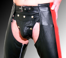 Genuine Leather Chaps motorcycle pants black red leather