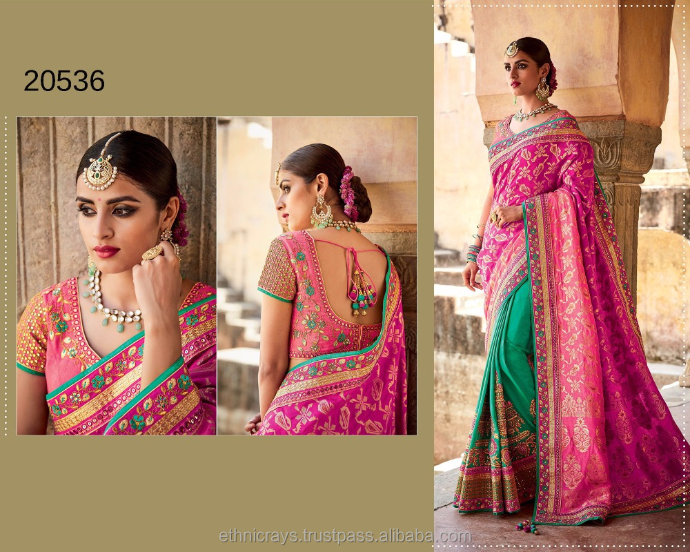 Ethnicrays Pink And Green Colored Jacquard And Tussar Silk Saree In Surat