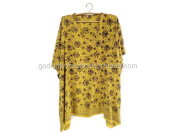 Caftan, Coverup, Short, Rayon, Batik, Yellow, Brown/Fancy Design New Modern Long Beach Caftan/Stylist kaftan in wholesale rate.