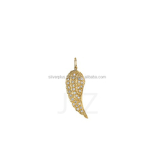 18k Yellow Gold Pave Diamond Charm Angel Wing Fashion Pendant Wholesale Diamond Charms Pendants