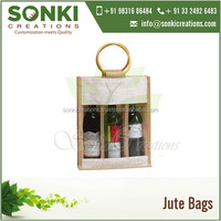 Canvas Jute Wine Bag - Three Bottle Bag with Plastic Window and Round Cane Handles