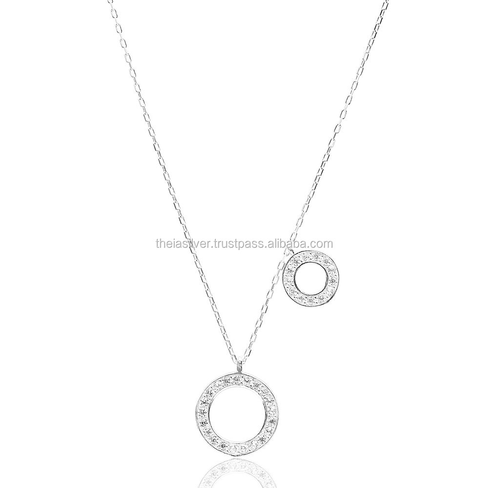 Silver Sterling Fashion Two Round Pendant, Wholesale 925 Silver Sterling Turkish Jewelry