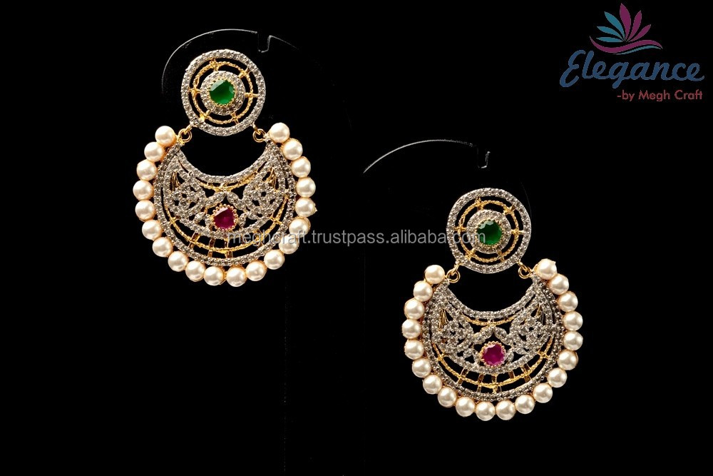Chandelier small earring-american diamond and pearl beaded jewelry-small traditional look earrings-Wholesale party wear earring