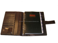 Promotional Black Leather Organizer / Business Executive Leather Organizer Portfolio / Leather Plannner