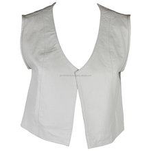 Womens Modern and Simple Fitted Crop Vest with Open Back