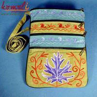 Blue Brown Multi Pocket Floral Design Sling Bag - Suede Leather Hand Indian Embroidered handmade handbag - Neon Colors