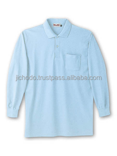Cheap polo shirts with long sleeves ( C60% E40% fabric ). Made by Japan
