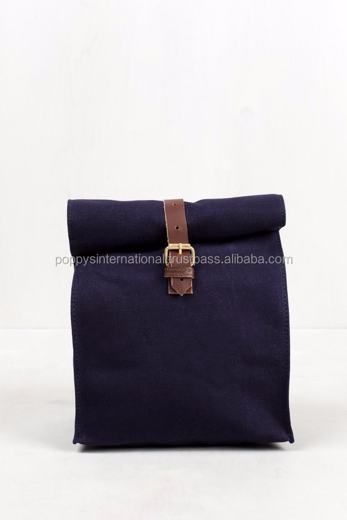 HEAVY COTTON CANVAS LUNCH BOX WITH LEATHER STRAP