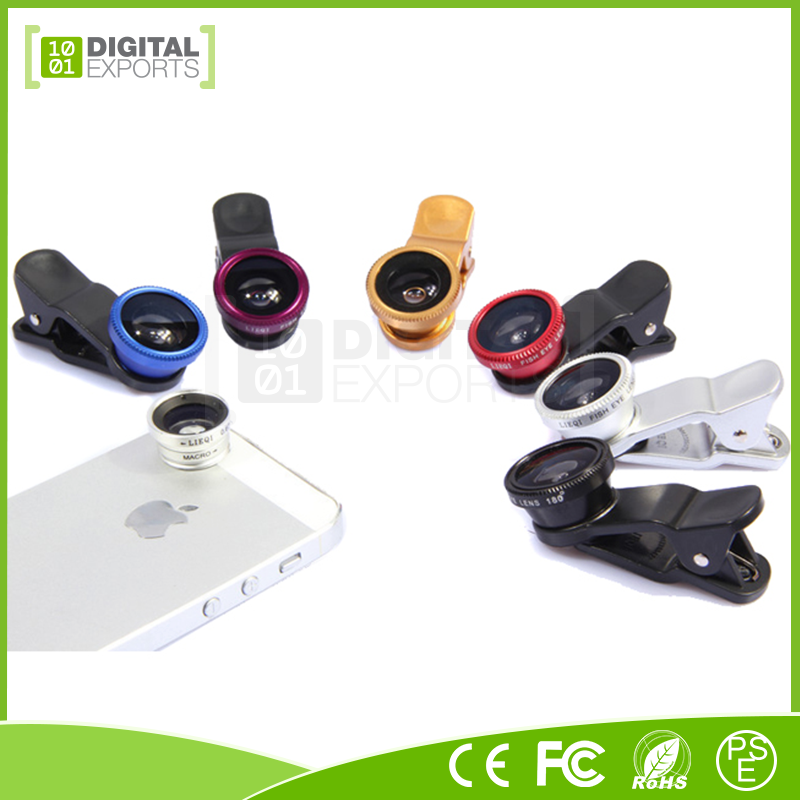 Newest phone lens for android, fish eye lens smartphone, cell phone 3 in 1 lens kit