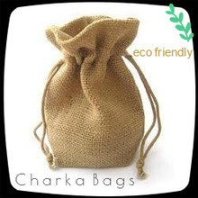 Jute / burlap Tea coffee Bean Drawstring bag , Customize size available