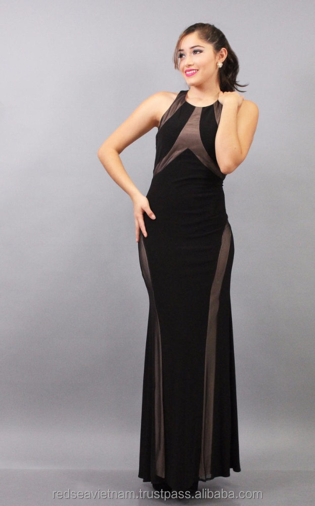 American lady fashion sleeveless long black gown