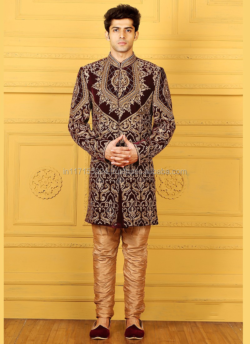 Beige Banarasi Silk Wedding Wear Embroidered Work Sherwani