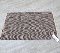 Herringbone woven rug leather luxury mats carpet