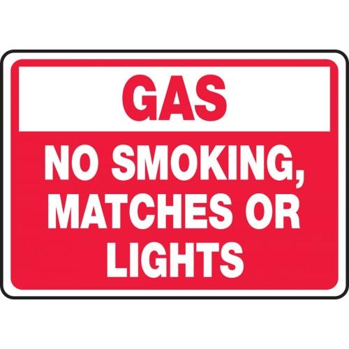 "Accuform MCHL934VA, 10"" x 14"" Aluminum Sign: ""Gas No Smoking, or Matches or Lights"""
