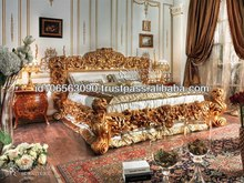 King Royal carved bed furniture wood royal bed with gold leaf BJ RVS01