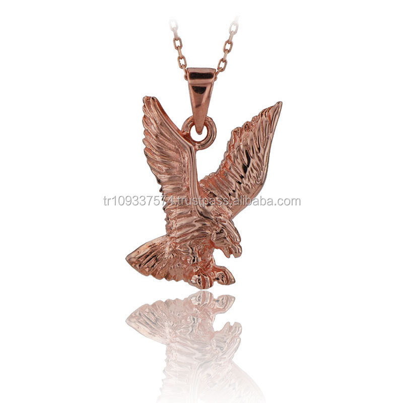 14K Solid Gold Flying Eagle Pendant Necklace