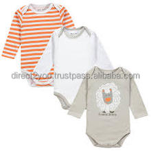 breathable high quali 3 pcs toddler newborn baby clothing sets long sleeve bodysuit