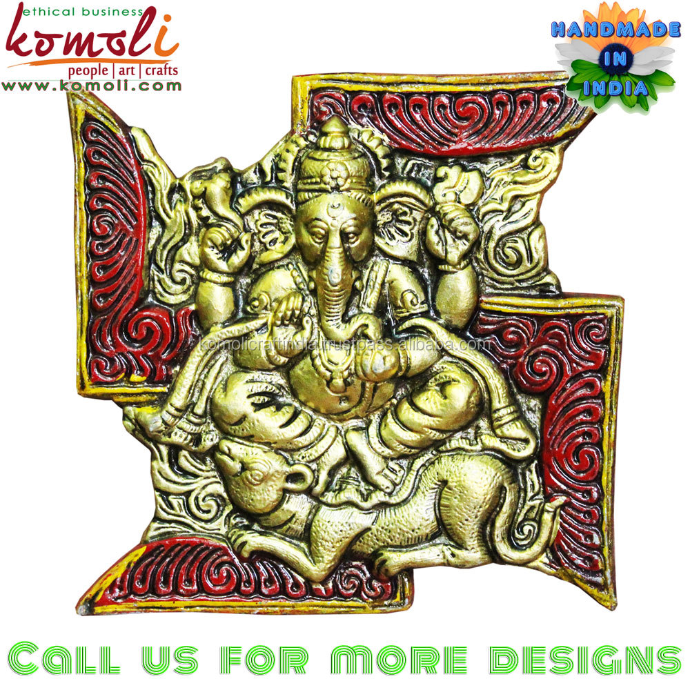 Swastik Ganesha wall hanging mural for indian wedding Ganesh gifts