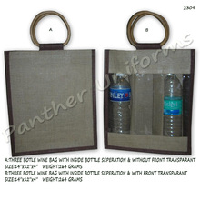 Three bottle wine bag with inside bottle seperation & without front transparant
