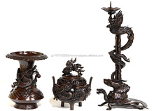 Traditional dragon carvings metal candle holder with great details