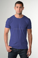 Tight sleeves men's t-shirt with front pocket/new design tight arms men's cotton t-shirts