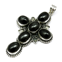 Cross Design Black Onyx 925 Sterling Silver Six Stone Oxidized Pendant, Fashion Silver Jewelry, Handmade Gemstone Pendants