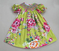 Geometric smocked bishop dress