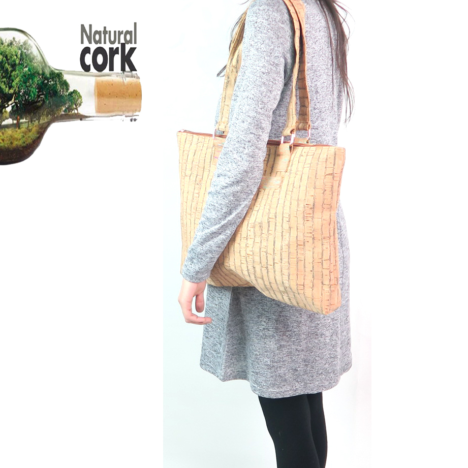 Natural Cork, cork women handbag, strip color , tote lady handmade bags original and natural material Bag-144