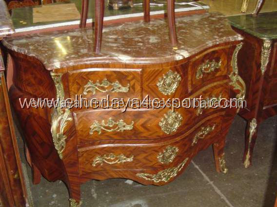 French Antique Louis XV Style Marble Top Commode Dresser Cabinet Chest Bombe Chest of Drawers