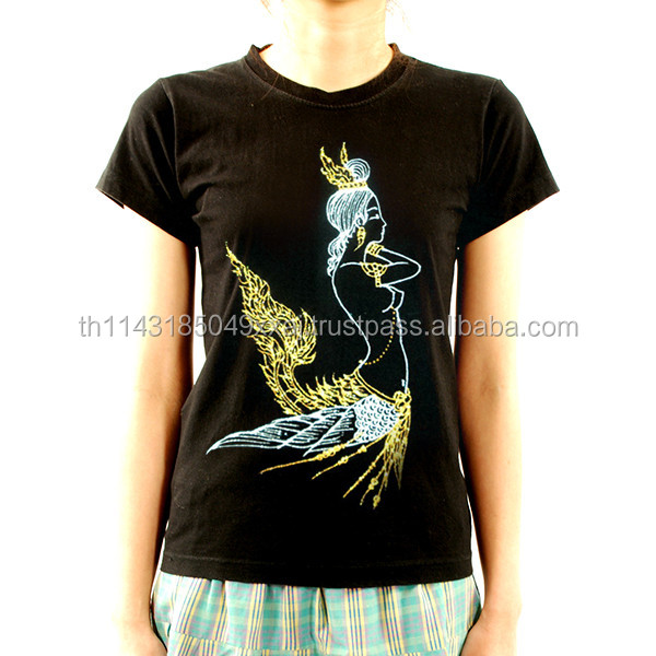 Thai Women Kinnaree THAILAND ART T-SHIRT PAINTED acrylic glitter FABRIC PAINTING BY HAND RARE PRODUCTS