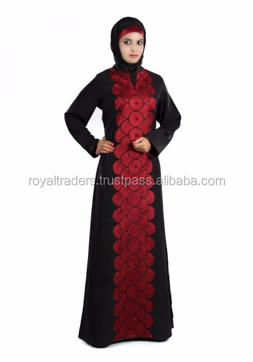 Free size pretty kaftan islamic maxi kimono abaya with belt latest arrival muslim embroidery lace dubai front open abaya 2017