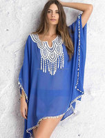 """Beach Cover Up ,Cruise Wear, Boho Kimono, Sexy, Drapey Chic Blue """