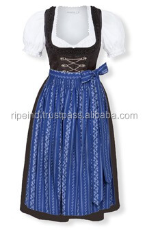 "Handmade"" Blue 100%Cotton Dirndl German Bavarian Dress"