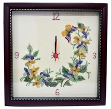 Good Quality Handmade gemstone butterfly and flower Wall clock