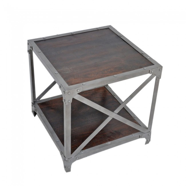 Angle Industrial Lamp Table - Chocolate 50x50cm