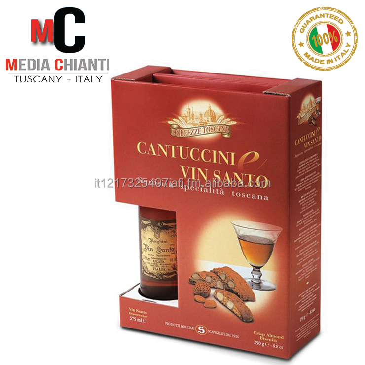 Top Quality Italian ALMOND CANTUCCINI + VIN SANTO BOX: cantuccini 250 gr + Vin Santo 375 ml