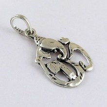 Best Deal Today !! Devotional Oxidized 925 Sterling Silver Pendant OM Shape, Wholesale Silver Jewelry For Retailers