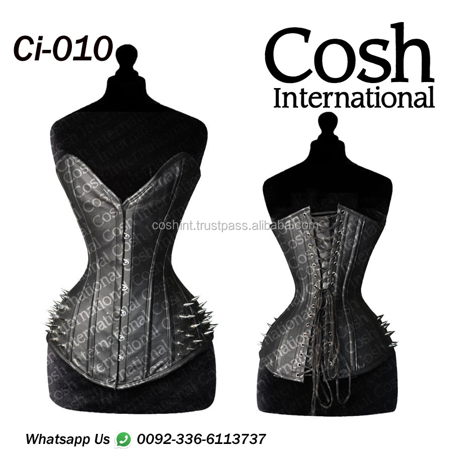 COSH INTERNATIONAL : Ci-010 Black Leather Fetish Steel Boned Waist Training Corset Supplier By Sana